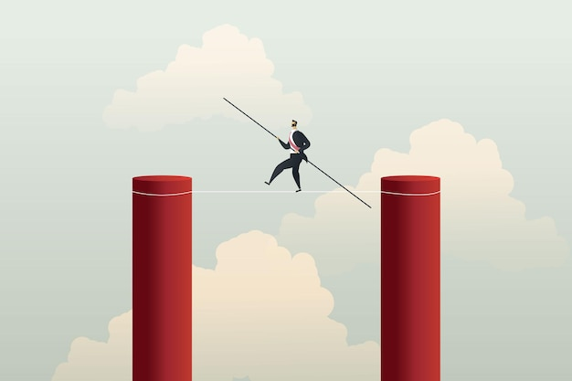Geschäftsmann auf drahtseil ist eine geschäftliche herausforderung, um zum erfolgskonzept zu gehen. abbildung vektor