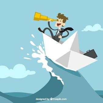 Geschäftsmann auf einem papierboot
