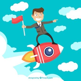 Geschäftsmann auf einer rakete
