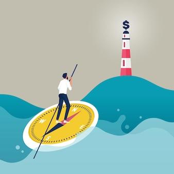 Geschäftsmann auf kompassboot, das den weg zum erfolg darstellt konzept des karriereweges und der richtung