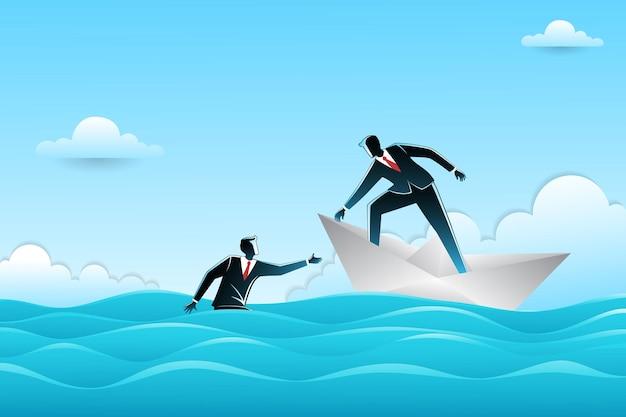 Geschäftsmann auf papierboot im ozean, das anderen geschäftsmann hilft