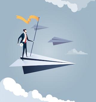Geschäftsmann auf papierflugzeug