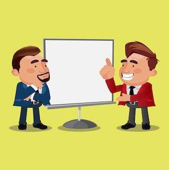 Geschäftsmann auf präsentationscharakter-vektordesign