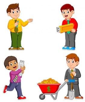 Geschäftsmann auf verschiedene aktivitäten