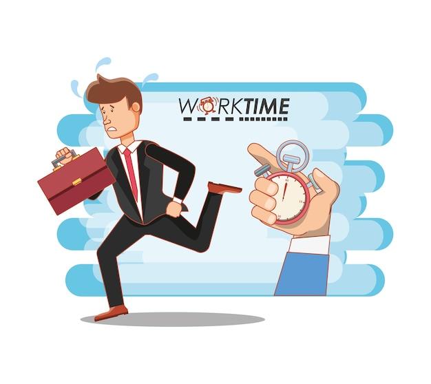 Geschäftsmann avatar mit arbeitszeit elemente