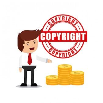Geschäftsmann avatar mit copyright-konzept