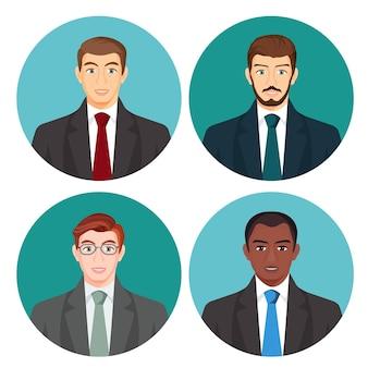 Geschäftsmann avatar vier bilder auf weiß gesetzt. männliche menschen mit heller und dunkler haut, mit schnurrbart und brille, in geschäftskostümen mit roten, grünen, blauen oder grauen krawatten auf rundem hintergrund