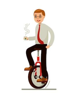 Geschäftsmann balance auf einrad fahrrad hält eine tasse kaffee