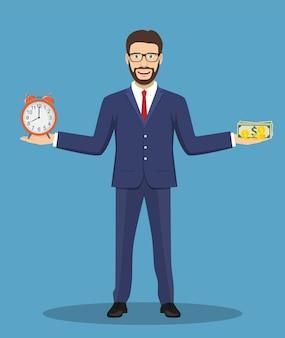 Geschäftsmann balanciert zeit und geld.