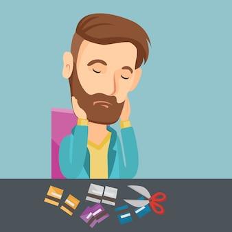 Geschäftsmann bankrott, der seine kreditkarte schneidet.