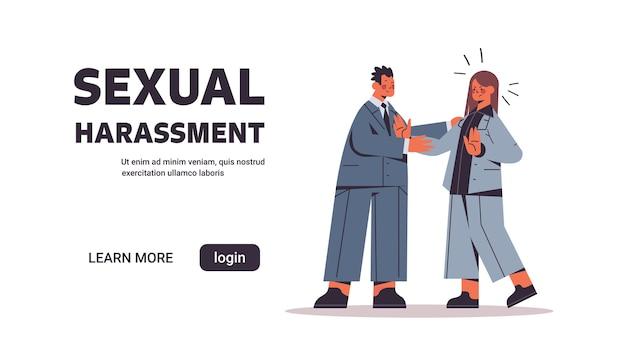 Geschäftsmann belästigt weibliche angestellte sexuelle belästigung am arbeitskonzept geschäftsfrau, die angewidertes horizontales banner in voller länge kopie raumvektorillustration fühlt