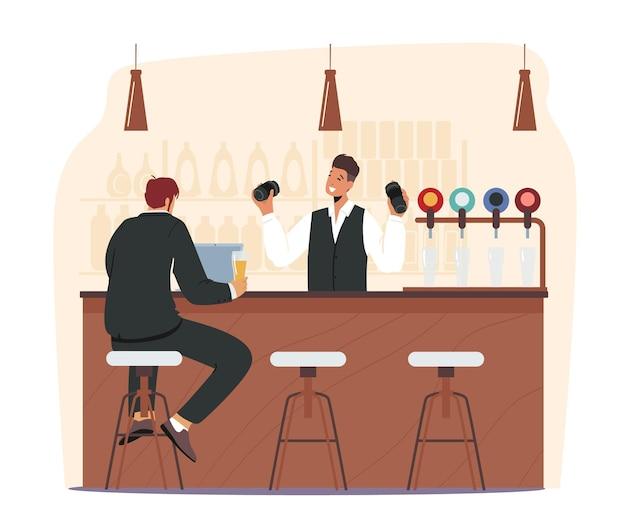 Geschäftsmann besuchen bierkneipe oder nachtclub. männlicher charakter sitzt am hochstuhl, trinkt alkohol und arbeitet am laptop