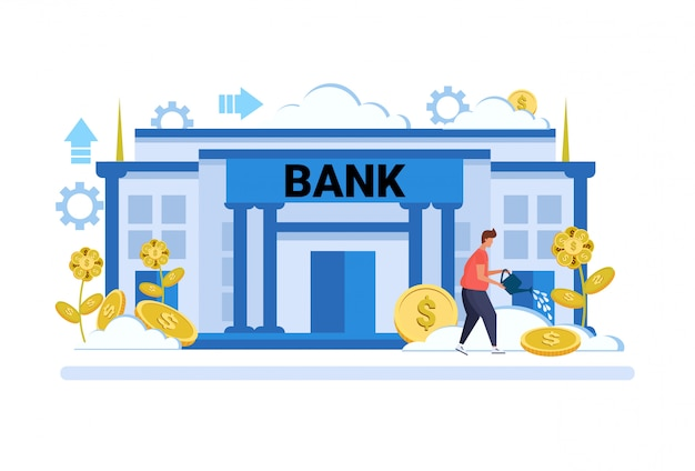 Geschäftsmann bewässerung dollar pflanzenwachstum reichtum anlagekonzept bankgebäude außen