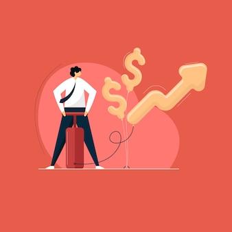 Geschäftsmann bläst den pfeil und dollar auf