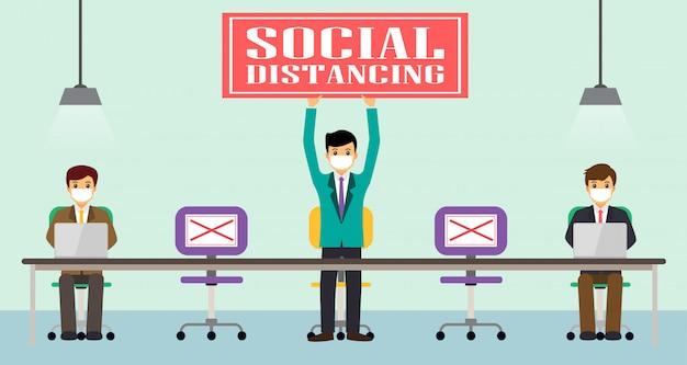 Geschäftsmann büroangestellte pflegen soziale distanz. neue normalität bei der arbeit. covid-19 zeichen