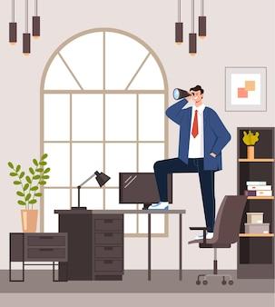 Geschäftsmann büroangestellter charakter, der erfolgreiche zukünftige illustration sucht