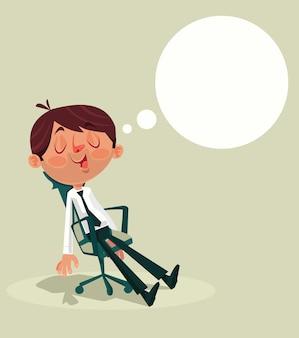 Geschäftsmann büroangestellter charakter schlafend und träumend während der flachen karikaturillustration des arbeitstages