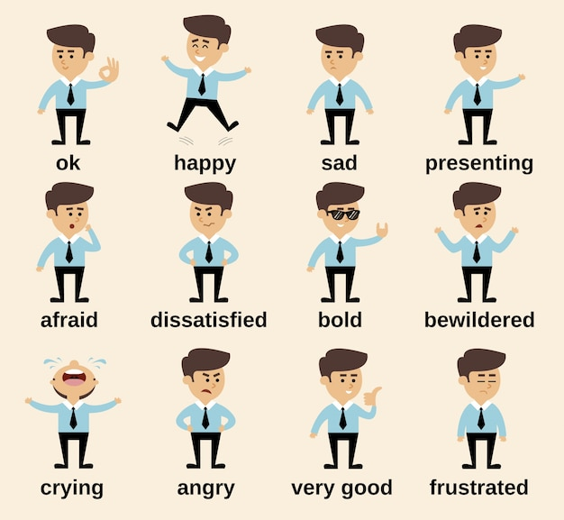 Geschäftsmann cartoon charakter emotionen gesetzt isoliert vektor-illustration