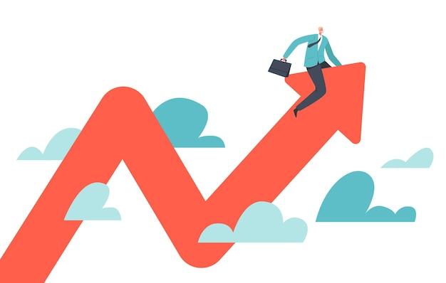 Geschäftsmann-charakter, der versucht, das reiten nach oben und unten auszugleichen, rotes pfeil-gewinn-diagramm. volatilität der finanzanlagen aufgrund der coronavirus-krise, kapitalanlagerisiko. cartoon-vektor-illustration