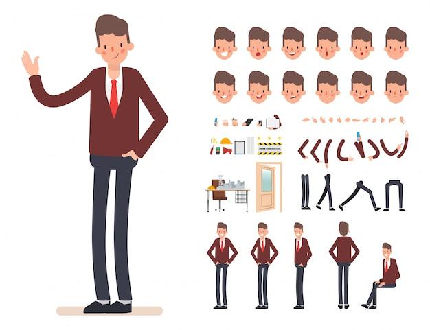 Geschäftsmann charakter erstellung für die animation.