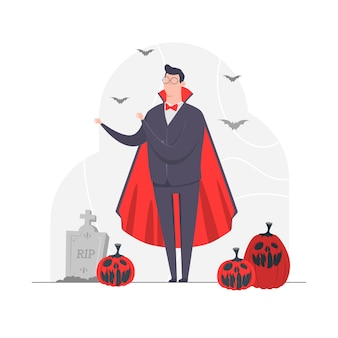 Geschäftsmann charakter konzept illustration vampir halloween scary bat kürbis friedhof