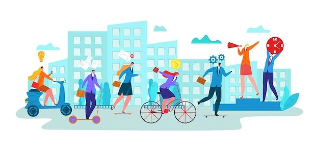 Geschäftsmann-charakter-manager, cartoon-transport für arbeitszeitmanagement