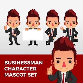 Geschäftsmann charakter maskottchen set logo symbol