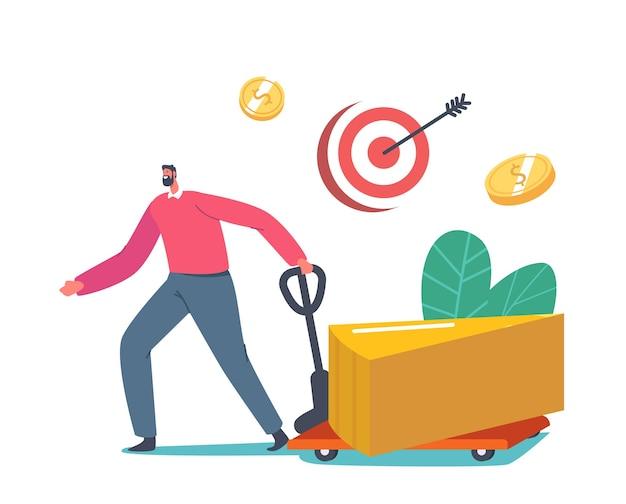 Geschäftsmann charakter mit manuellem trolley nehmen riesigen teil des goldenen kreisdiagramms weg. shareholder snatch dividendengewinn, einkommen von geschäftsinteressenten, return on investment. cartoon-vektor-illustration