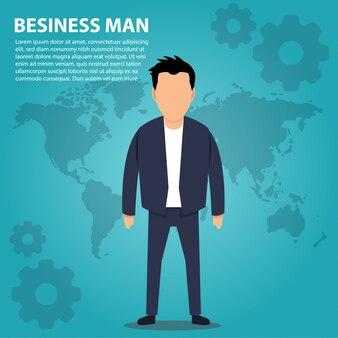 Geschäftsmann charakter mit weltkarte