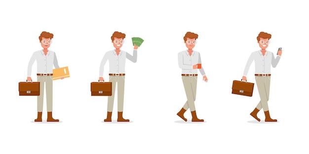 Geschäftsmann charakter. präsentation in verschiedenen aktionen.