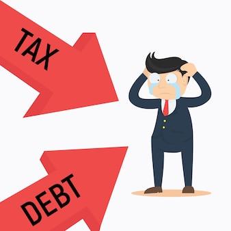 Geschäftsmann charakter verwirrt mit steuer und schulden cartoon vektor-design