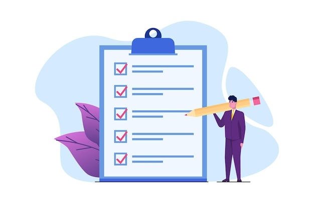 Geschäftsmann-checklistenkonzept