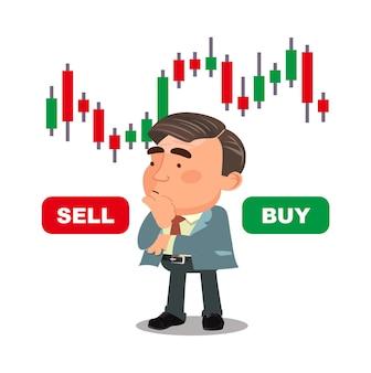 Geschäftsmann denkt und analysiert aktiendiagramme and