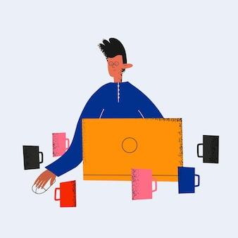 Geschäftsmann, der am computer arbeitet, umgeben von kaffeetassen