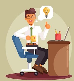Geschäftsmann, der am computer arbeitet und auf eine gute idee wartet. karikatur flacher stil