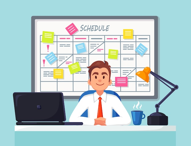 Geschäftsmann, der am schreibtisch arbeitet planungsplan auf taskboard. planer, kalender auf whiteboard