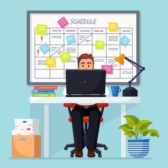 Geschäftsmann, der am schreibtisch arbeitet planungsplan auf taskboard. planer, kalender auf whiteboard Premium Vektoren