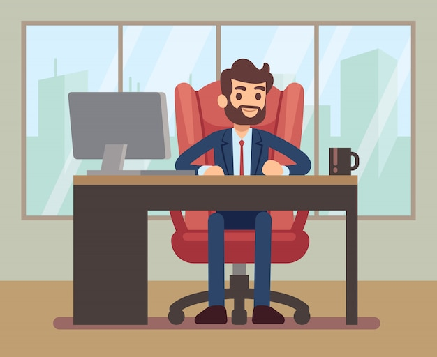 Geschäftsmann, der am schreibtisch mit laptop an unternehmenszentralearbeitsplatz arbeitet. geschäftstabelle und geschäftsmann im schreibtisch. vektor-illustration