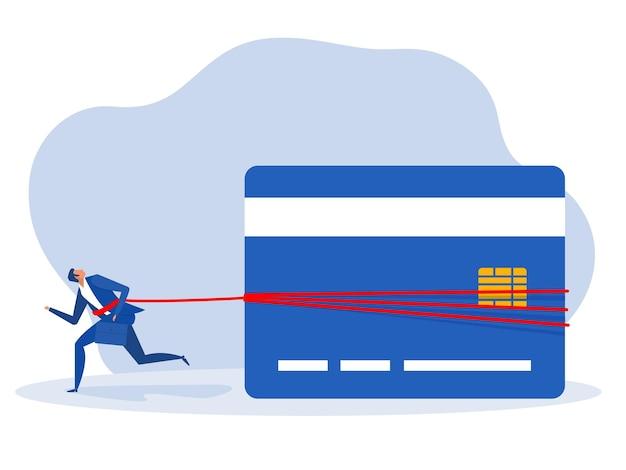 Geschäftsmann, der an ein enormes gewicht von schuldenkrediten gebunden ist. finanzproblemkonzept vektor-illustration.