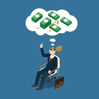 Geschäftsmann, der an finanzierung denkt