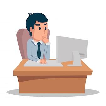Geschäftsmann, der an front sein laptop oder schreibtisch arbeitet