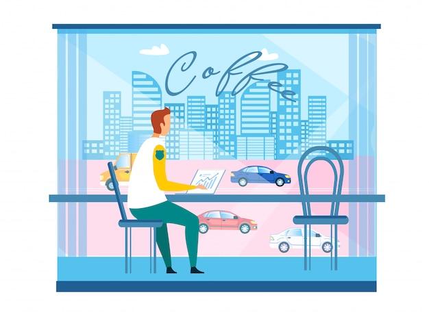 Geschäftsmann, der an laptop am modernen stadt-café arbeitet