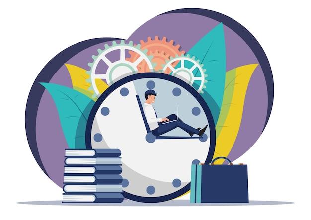 Geschäftsmann, der an laptop arbeitet, während er auf uhrzeiger sitzt. zeitmanagement-konzept.