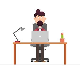 Geschäftsmann, der an schreibtischillustration in arbeitet
