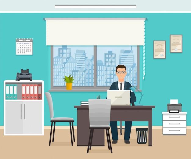 Geschäftsmann, der auf arbeitsplatz am tisch mit laptop sitzt. geschäftsarbeitskraftcharakter im büroinnenraum.