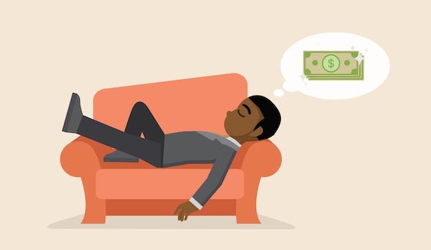 Geschäftsmann, der auf dem sofa träumt über geld ein schläfchen hält