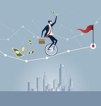 Geschäftsmann, der auf dem unicycle balanciert, der versucht, durch geschäftsdiagramm zu fahren. geschäftskonzept vektor