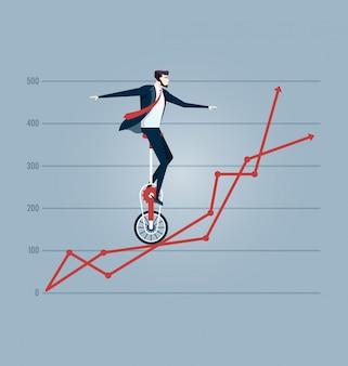 Geschäftsmann, der auf den diagrammen balanciert