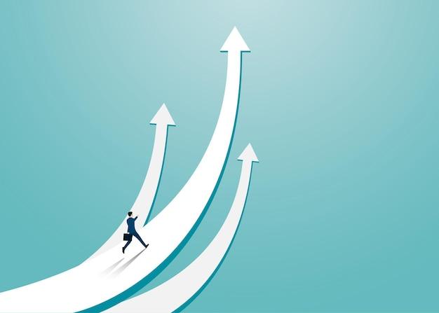 Geschäftsmann, der auf den pfeil nach oben läuft. geschäftsmann in richtung pfeil nach oben richtung des wirtschaftsrezessionskonzepts überwunden. führung, startup, vision, vektorillustration flach