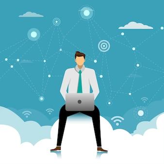Geschäftsmann, der auf den wolken im himmel unter verwendung des laptops sitzt.